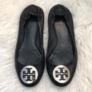 GUC Size 8 Black Leather Tory Burch Reva Flats!